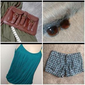 Summer bundle shorts tank sunglasses wristlet